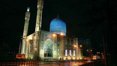 Cathedral Mosque in St. Petersburg at night Stock Video Footage