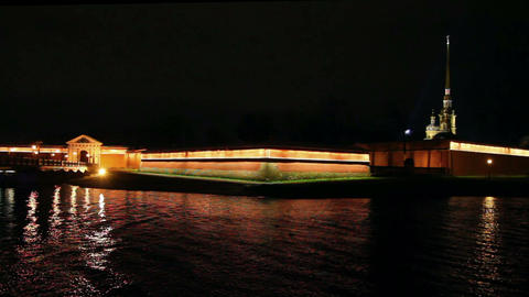 Peter and Paul Fortress at night in St. Petersburg Stock Video Footage