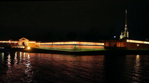 Peter and Paul Fortress at night in St. Petersburg Live Action