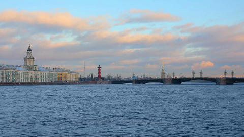 panorama of Neva river in the historical center of Stock Video Footage