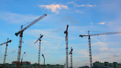 working construction cranes - timelapse Footage