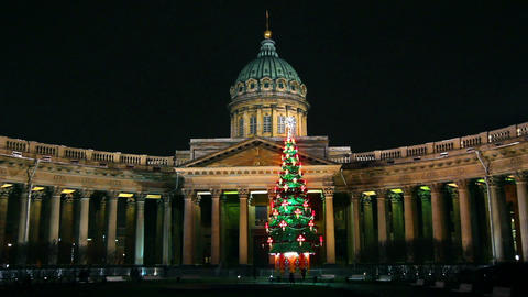 Kazan Cathedral and Christmas tree at night in St. Stock Video Footage