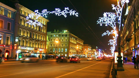 Nevsky Prospect in St. Petersburg at Christmas nig Footage
