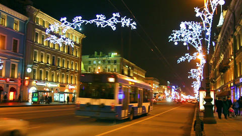 Nevsky Prospect in St. Petersburg at Christmas nig Stock Video Footage