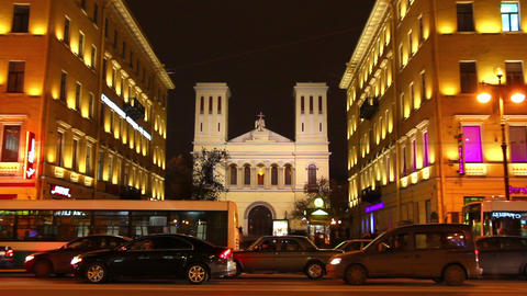 Church on Nevsky Prospect in St. Petersburg, Russi Stock Video Footage