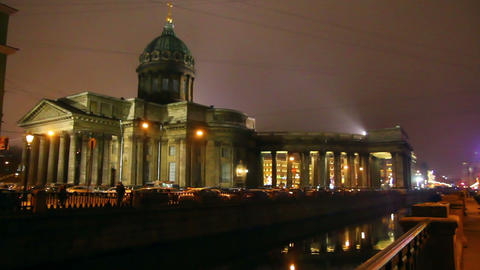 isaakiy cathedral dome at night, Saint-petersburg, Stock Video Footage