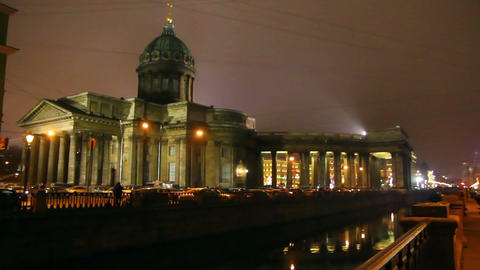 Isaakiy Cathedral Dome At Night, Saint-petersburg, stock footage