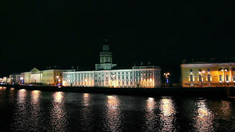 Kunstkammer on the Neva in St. Petersburg at night Stock Video Footage
