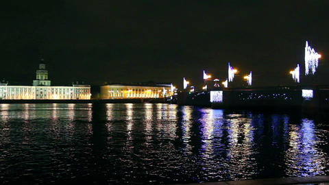 The bridge across the Neva River in St. Petersburg Stock Video Footage