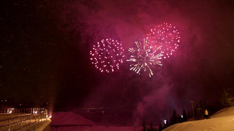 celebration fireworks at winter Stock Video Footage