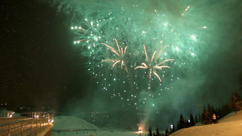 Celebration Fireworks At Winter stock footage