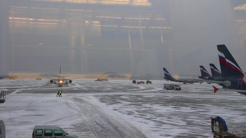 airfield airport - view from the terminal Stock Video Footage