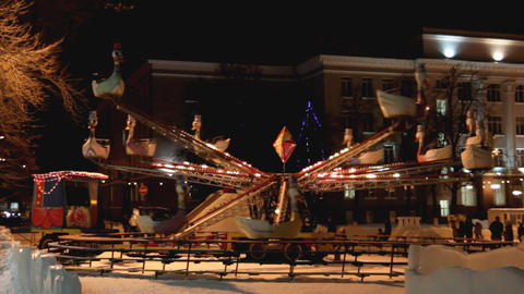 illuminated carousel at winter Stock Video Footage