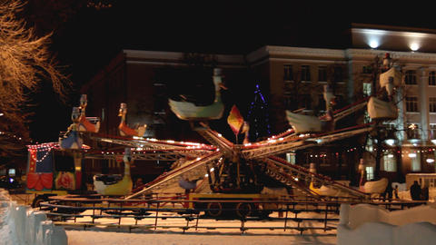 Illuminated Carousel At Winter stock footage