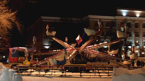 illuminated carousel at winter Stock Video Footage