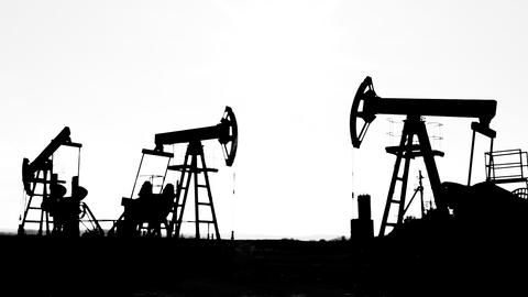 working oil pumps silhouette Stock Video Footage