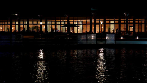Night view of the restaurant by the pond Footage