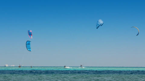 kite surfing - surfers on blue sea surface - timel Footage