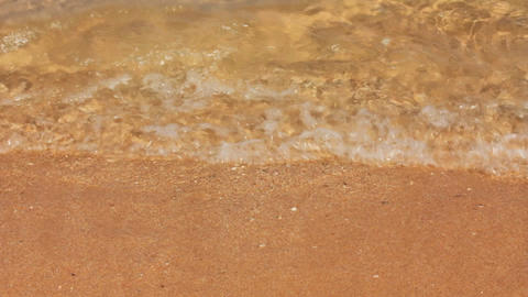 sea waves and sand beach - slow motion Stock Video Footage