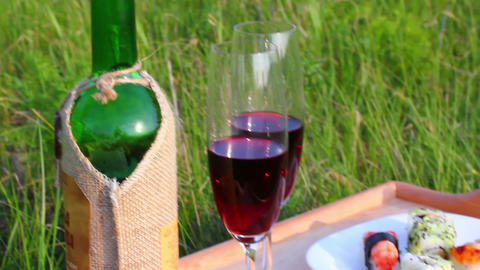 Picnic - Tabe With Wine And Japanese Food stock footage