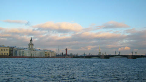 panorama of Neva river in the historical center of Footage