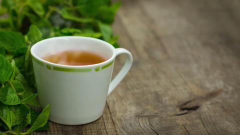 Steaming fresh mint tea Stock Video Footage