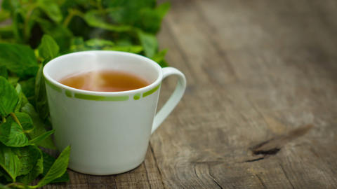 Steaming fresh mint tea Animation