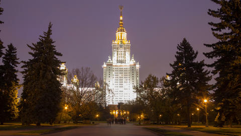 Moscow State University night hl 01 4 K HD Stock Video Footage