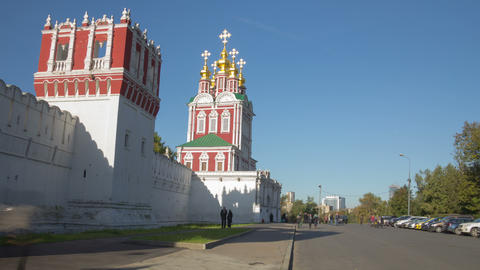 Novodevichy Convent wall hyperlapse 4K Stock Video Footage