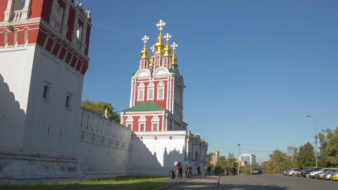 Novodevichy Convent wall hyperlapse 4K Footage