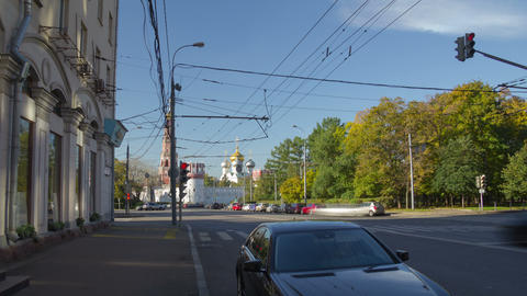 Pirogovskaya street hyperlapse Stock Video Footage