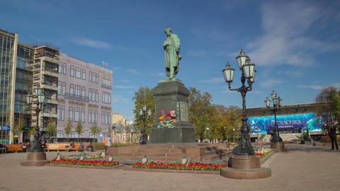 Pushkin monument hyperlapse Stock Video Footage