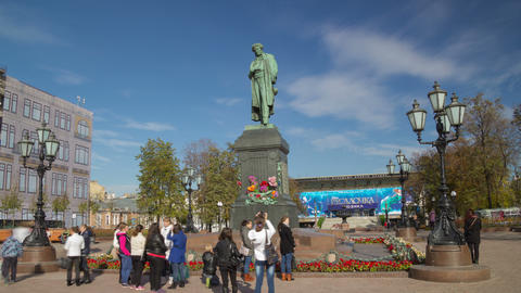 Pushkin monument hyperlapse Footage