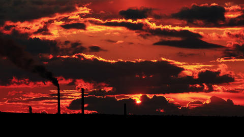 4K. Factory Pipe Polluting Air At Sunset. Environm stock footage