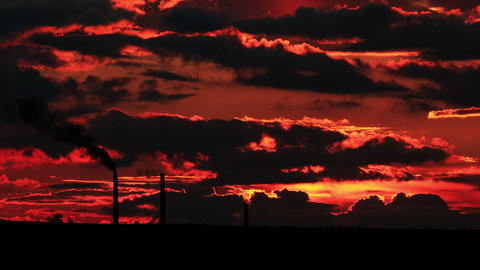 4K. Factory pipe polluting air at sunset. environm Stock Video Footage