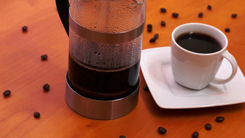 French Press Coffee Maker Stock Video Footage