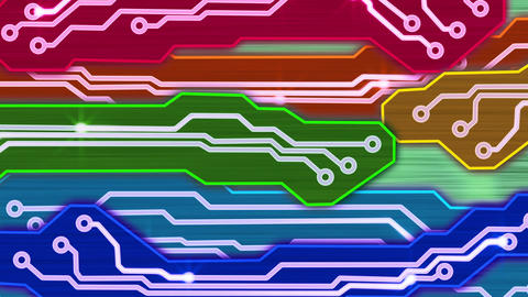 colorful waving electronic circuit plates loop Animation