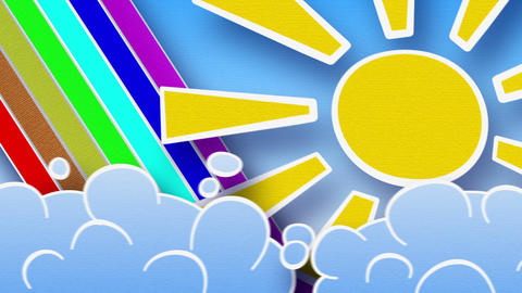 sun rainbow and clouds loop alpha Stock Video Footage