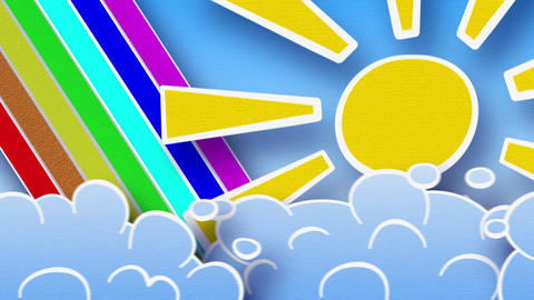 sun rainbow and clouds loop alpha Animation