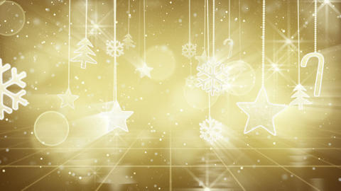gold christmas hanging decorations loopable flying Stock Video Footage