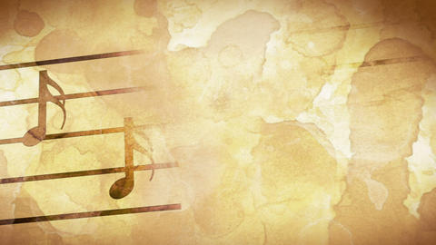 music notes on old paper loop Stock Video Footage