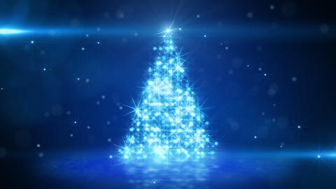 blue light christmas tree last 10s loop Stock Video Footage