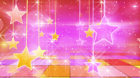 flying past by multicolored hanging stars loopable Animation
