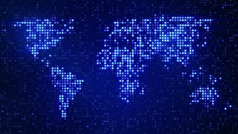 digital blue world map loop Stock Video Footage
