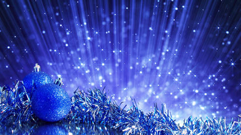 blue christmas balls and blinking particles loop Stock Video Footage