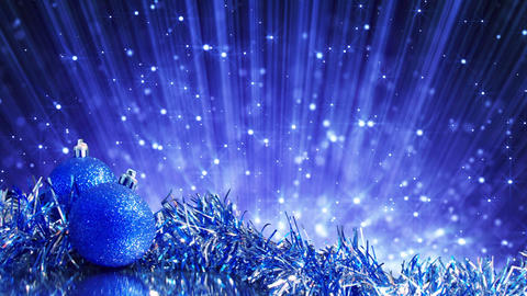 blue christmas balls and blinking particles loop Animation