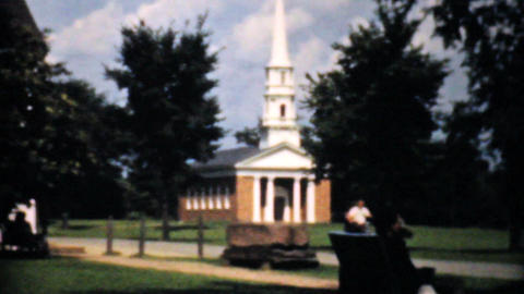 People Entering A Beautiful Little Chapel 1940 Fil Stock Video Footage
