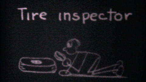 Tire Inspector Fixing A Flat Tire 1940 Vintage 8mm Stock Video Footage