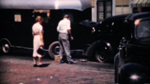 Tire Inspector Fixing A Flat Tire 1940 Vintage 8mm Footage