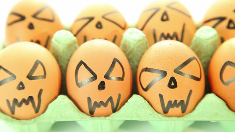 Scary vampire crazy eggs for halloween Stock Video Footage